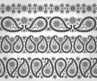 Άνευ ραφής σύνολο συνόρων του Paisley Δαντέλλα χειμερινών σκιαγραφιών Στοκ Φωτογραφίες