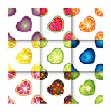 Άνευ ραφής σύνολο σχεδίων καρδιών φρούτων Στοκ Εικόνες