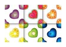 Άνευ ραφής σύνολο σχεδίων καρδιών φρούτων Στοκ φωτογραφίες με δικαίωμα ελεύθερης χρήσης