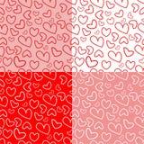Άνευ ραφής σύνολο σχεδίων καρδιών Στοκ Φωτογραφία