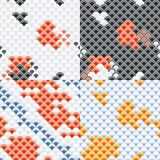Άνευ ραφής σύνολο σχεδίων κλιμάκων Koi κυπρίνων ψαριών Στοκ Εικόνες