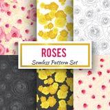 Άνευ ραφής σύνολο σχεδίων τριαντάφυλλων Στοκ Φωτογραφία