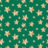 Άνευ ραφής σύσταση με τα αστέρια εορταστικά σε ένα πράσινο υπόβαθρο ελεύθερη απεικόνιση δικαιώματος