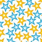 Άνευ ραφής σύσταση με τα κίτρινα και μπλε αστέρια   Στοκ φωτογραφία με δικαίωμα ελεύθερης χρήσης