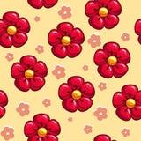 Άνευ ραφής σύσταση με τα κόκκινα λουλούδια διανυσματική απεικόνιση