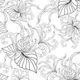 Άνευ ραφής σύσταση με τα περίκομψα λουλούδια και το φύλλο Στοκ εικόνα με δικαίωμα ελεύθερης χρήσης