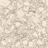 Άνευ ραφής σύσταση με τα στοιχεία της τελετής καφέ για τη συσκευασία και τις καλύψεις Στοκ Εικόνες