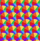 Άνευ ραφής σύσταση με τους κύκλους ουράνιων τόξων που διαιρούνται σε τμήματα πολύχρωμες ομπρέλες διανυσματική απεικόνιση