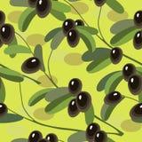 Άνευ ραφής σύσταση με το κλαδί ελιάς στο ανοικτό πράσινο υπόβαθρο Στοκ Εικόνες
