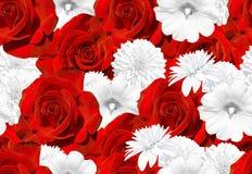 Άνευ ραφής σύσταση λουλουδιών κόκκινο λευκό τριαντάφυ&lambd Αυξήθηκε, mallow, rudbeckia Στοκ φωτογραφία με δικαίωμα ελεύθερης χρήσης