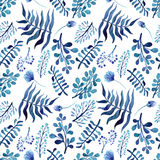 Άνευ ραφής σύσταση λουλουδιών, οφθαλμών και φύλλων Watercolor βαθιά μπλε διανυσματική απεικόνιση