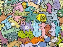 Άνευ ραφής σύσταση που αποτελείται από τις εικόνες των γατών και των σκυλιών ελεύθερη απεικόνιση δικαιώματος