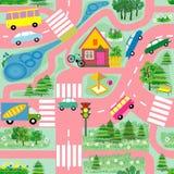 Άνευ ραφής σύσταση που μιμείται έναν χάρτη με τους δρόμους, αυτοκίνητα που χρωματίζονται στα διαφορετικά χρώματα απεικόνιση αποθεμάτων