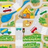 Άνευ ραφής σύσταση που μιμείται έναν χάρτη με τους δρόμους, τα αυτοκίνητα και ένα σπίτι Απεικόνιση αποθεμάτων