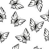 Άνευ ραφής σύσταση σκιαγραφιών πεταλούδων διανυσματική απεικόνιση
