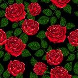 Άνευ ραφής σύσταση σχεδίων κεντητικής, ταπετσαρία, υπόβαθρο με τα όμορφα τριαντάφυλλα μαύρο floral διάνυσμα διακοσμήσεων Στοκ Φωτογραφίες