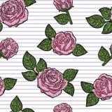 Άνευ ραφής σύσταση σχεδίων κεντητικής, ταπετσαρία, υπόβαθρο με τα ρόδινα όμορφα τριαντάφυλλα μαύρο floral διάνυσμα διακοσμήσεων Στοκ Φωτογραφία