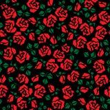 άνευ ραφής σύσταση τριαντάφυλλων ανασκόπησης μαύρη κόκκινη διανυσματική απεικόνιση