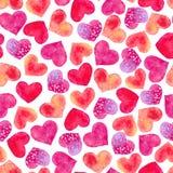 Άνευ ραφής σύσταση των καρδιών watercolor Στοκ Εικόνα