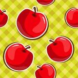 Άνευ ραφής σύσταση των κόκκινων μήλων διανυσματική απεικόνιση