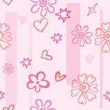 Άνευ ραφής σύσταση των ρόδινων καρδιών και των λουλουδιών Στοκ φωτογραφίες με δικαίωμα ελεύθερης χρήσης