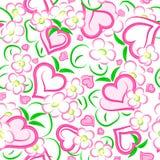 άνευ ραφής σύσταση φραουλών καρδιών λουλουδιών διανυσματική απεικόνιση
