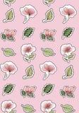 άνευ ραφής σύσταση Χαριτωμένες αυτοκόλλητες ετικέττες των λουλουδιών σε ένα λεπτό ρόδινο υπόβαθρο απεικόνιση αποθεμάτων