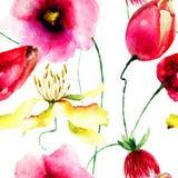 Άνευ ραφής ταπετσαρία με τα άγρια λουλούδια Στοκ Φωτογραφία