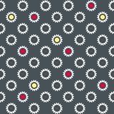 Άνευ ραφής ταπετσαρία με τα άσπρα λουλούδια και τους πολύχρωμους κύκλους Στοκ Φωτογραφία