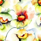 Άνευ ραφής ταπετσαρία με τα θερινά λουλούδια Στοκ φωτογραφία με δικαίωμα ελεύθερης χρήσης