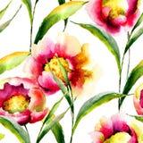 Άνευ ραφής ταπετσαρία με τα θερινά λουλούδια Στοκ Εικόνες