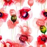 Άνευ ραφής ταπετσαρία με τα θερινά λουλούδια Στοκ φωτογραφίες με δικαίωμα ελεύθερης χρήσης