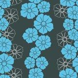 Άνευ ραφής ταπετσαρία με τα μπλε λουλούδια Στοκ Φωτογραφίες