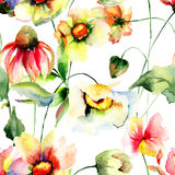 Άνευ ραφής ταπετσαρία με τα λουλούδια άνοιξη Στοκ εικόνα με δικαίωμα ελεύθερης χρήσης