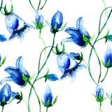 Άνευ ραφής ταπετσαρία με τα λουλούδια κουδουνιών Στοκ Φωτογραφίες