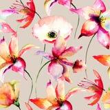 Άνευ ραφής ταπετσαρία με τα λουλούδια κρίνων και παπαρουνών διανυσματική απεικόνιση