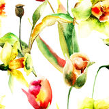 Άνευ ραφής ταπετσαρία με τα λουλούδια ναρκίσσων και τουλιπών Στοκ Εικόνες
