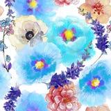 Άνευ ραφής ταπετσαρία με τα όμορφα θερινά λουλούδια, απεικόνιση watercolor Στοκ Εικόνα