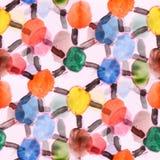 Άνευ ραφής ταπετσαρία μ καλλιτεχνών watercolor κύκλων και λουρίδων χρώματος διανυσματική απεικόνιση
