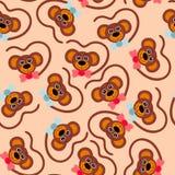 Άνευ ραφής ταπετσαρία παιδιών Πίθηκος προσώπων Στοκ Φωτογραφία