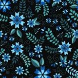Άνευ ραφής ταπετσαρία σύστασης σχεδίων κεντητικής, υπόβαθρο, με τα χαριτωμένα λουλούδια και τα φύλλα μαύρο floral διάνυσμα διακοσ Στοκ εικόνα με δικαίωμα ελεύθερης χρήσης