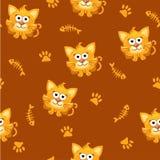 Άνευ ραφής τετραγωνικά γάτα και ψάρια σχεδίων Στοκ Εικόνες