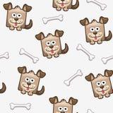 Άνευ ραφής τετραγωνικά σκυλί και κόκκαλο 2 σχεδίων Στοκ Εικόνες