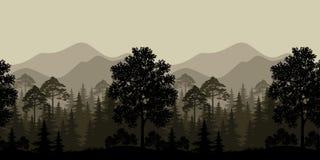 Άνευ ραφής τοπίο, δέντρα και σκιαγραφίες βουνών Στοκ Φωτογραφία