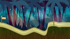 Άνευ ραφής τοπίο ζουγκλών κινούμενων σχεδίων, διανυσματικό ατελείωτο υπόβαθρο με τα χωρισμένα στρώματα για το παιχνίδι Στοκ Εικόνα