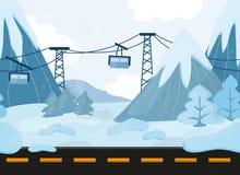 Άνευ ραφής τοπίο κινούμενων σχεδίων, διανυσματικό υπόβαθρο με τα βουνά και Funicular Στοκ φωτογραφίες με δικαίωμα ελεύθερης χρήσης