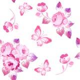 Άνευ ραφής τριαντάφυλλα και πεταλούδες σχεδίων υψηλό watercolor ποιοτικής ανίχνευσης ζωγραφικής διορθώσεων πλίθας photoshop πολύ  Στοκ Εικόνα