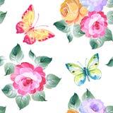 Άνευ ραφής τριαντάφυλλα και πεταλούδες σχεδίων υψηλό watercolor ποιοτικής ανίχνευσης ζωγραφικής διορθώσεων πλίθας photoshop πολύ  Στοκ φωτογραφίες με δικαίωμα ελεύθερης χρήσης