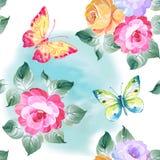 Άνευ ραφής τριαντάφυλλα και πεταλούδες σχεδίων υψηλό watercolor ποιοτικής ανίχνευσης ζωγραφικής διορθώσεων πλίθας photoshop πολύ  Στοκ Εικόνες