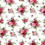 Άνευ ραφής τριαντάφυλλα και freesia σχεδίων. Στοκ Φωτογραφία